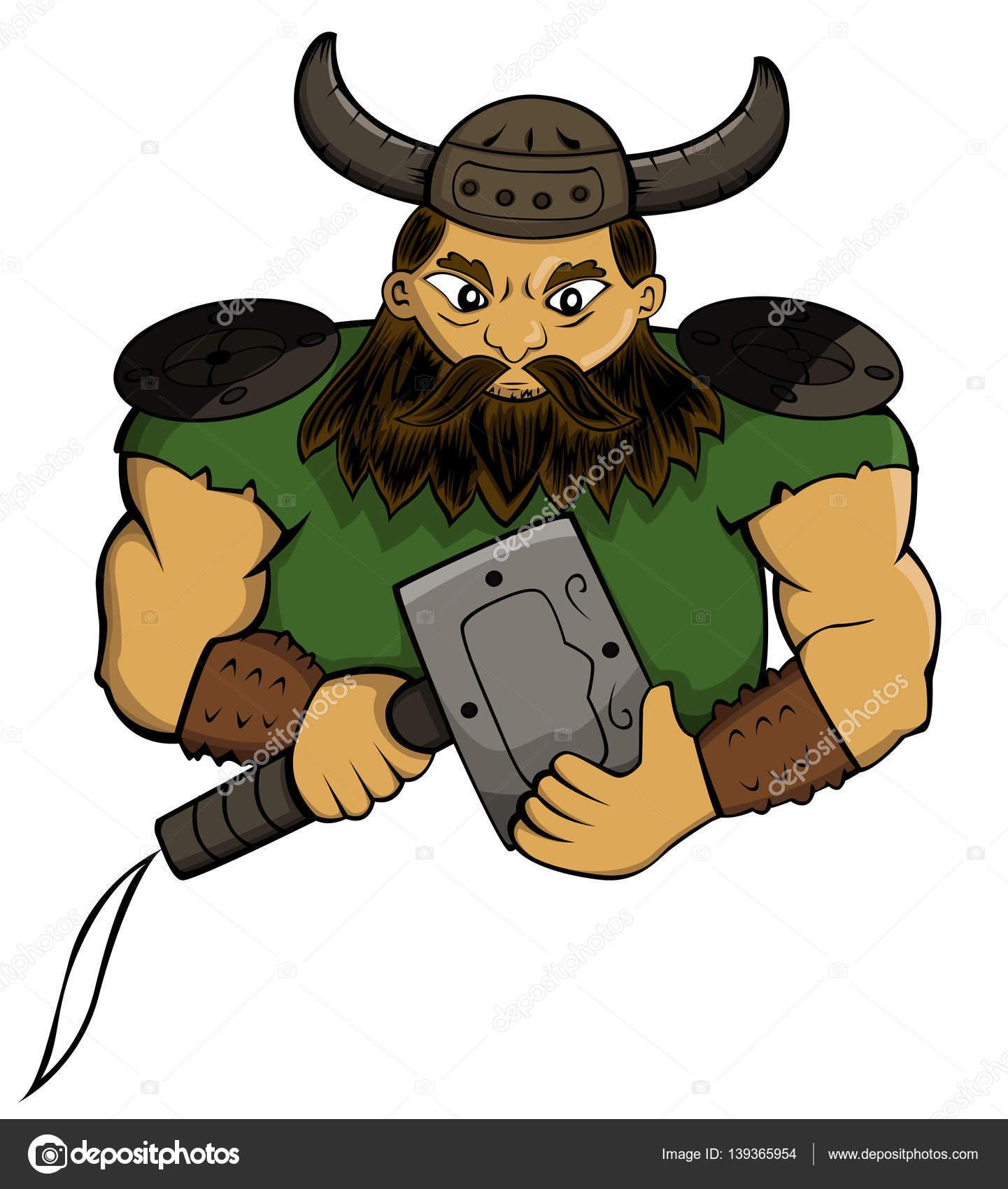 Chef viking avec marteau d armes personnage de dessin - Dessin de marteau ...