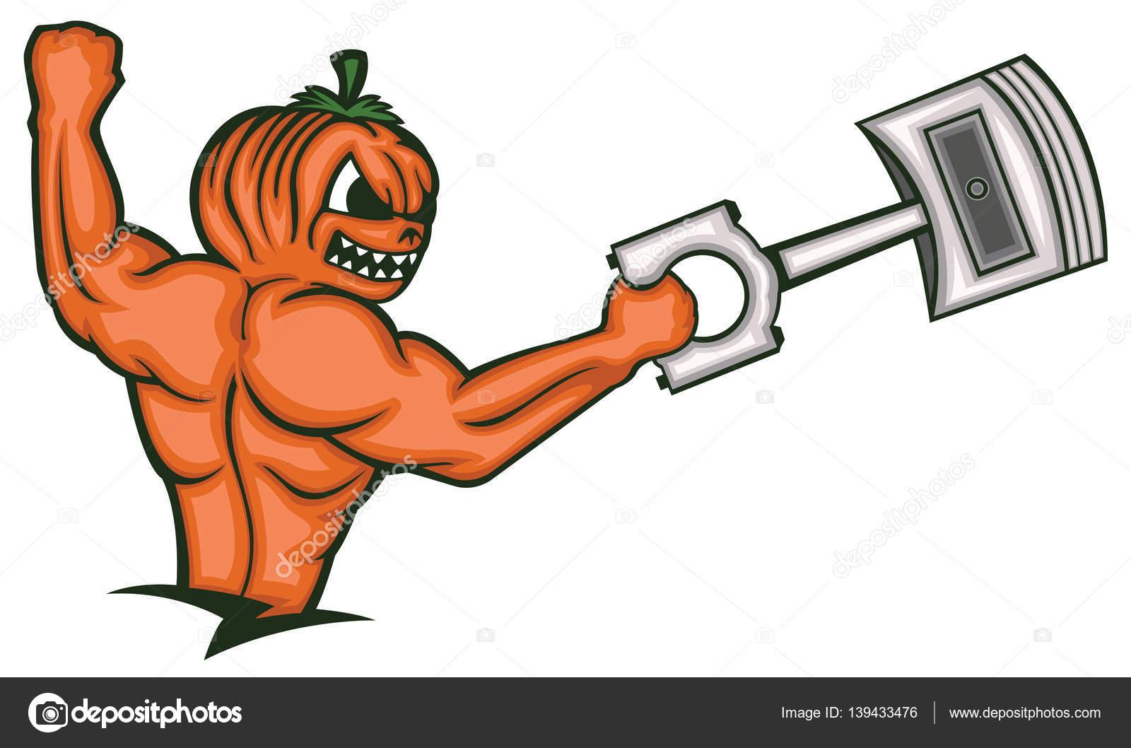 Fuerte monstruo calabaza Muscular sostiene el pistón grande dibujos ...