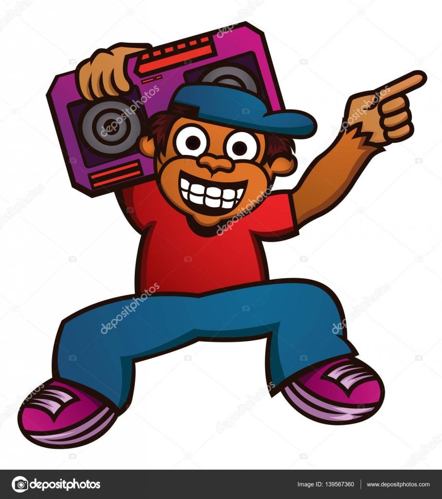 Ilustración de dibujos animados de un divertido mono con boombox ...