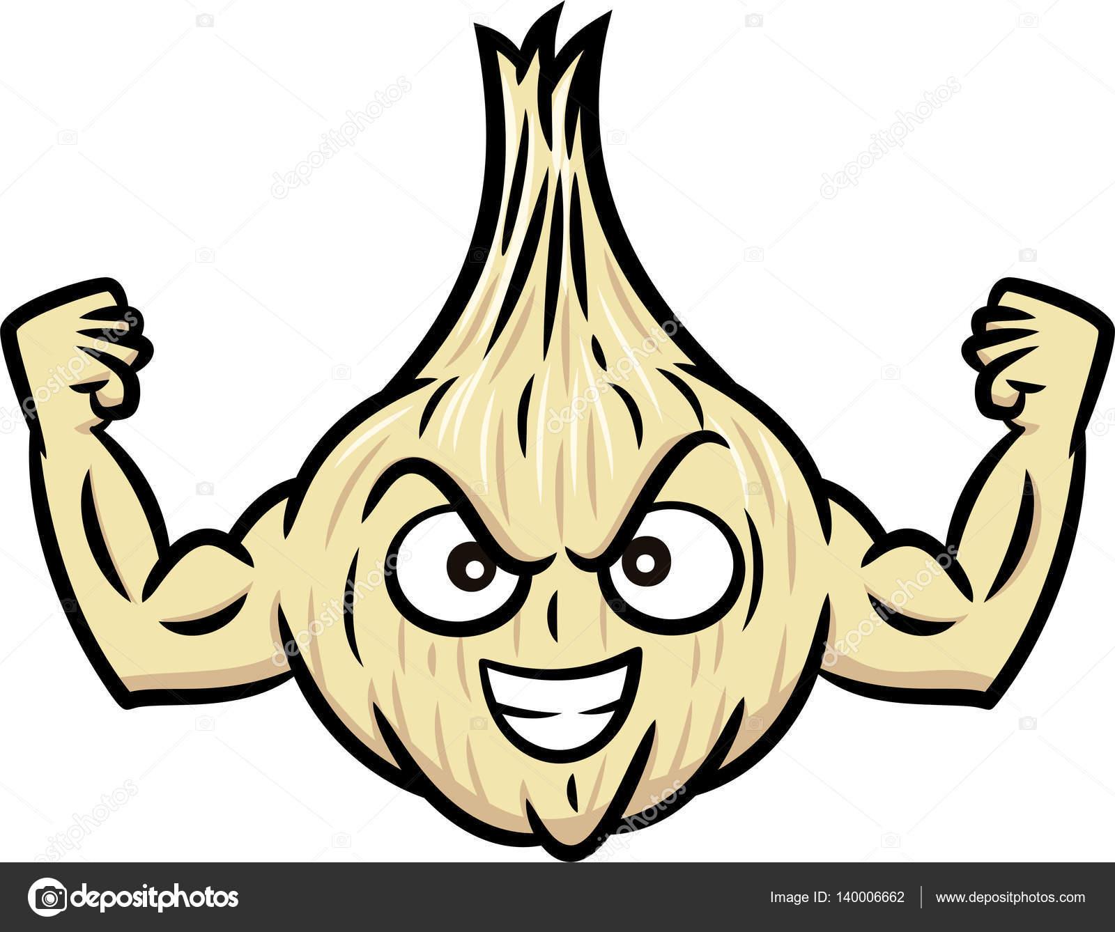 Personaje de dibujos animados de ajo Muscular fuerte. Ilustración de ...