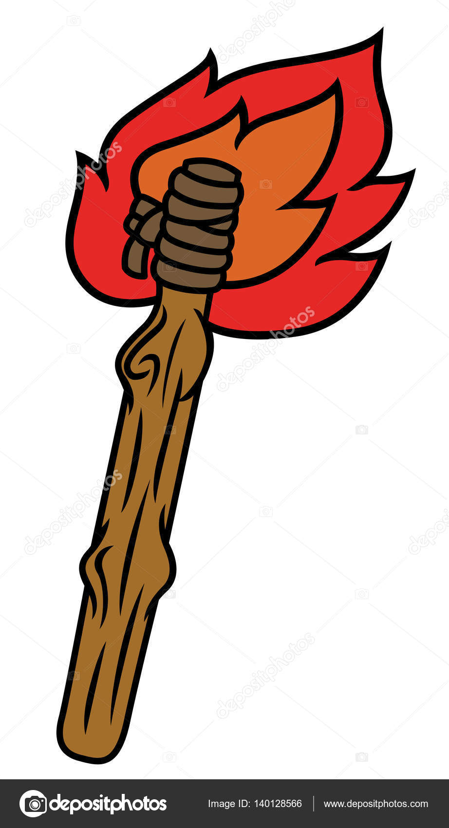 Burning Wooden Torch Illustration Isolated on White — Stock Vector ... for Burning Wooden Torch  545xkb