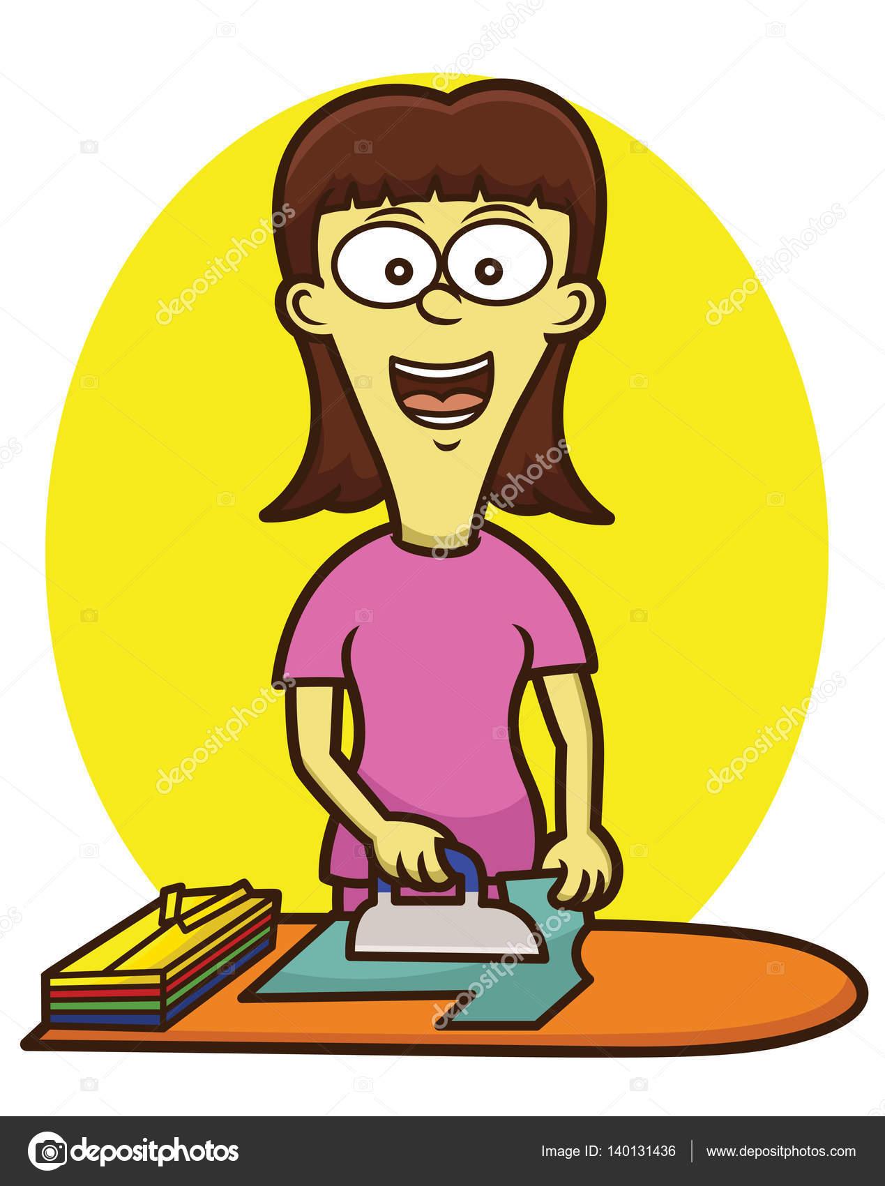 Cartoon Clothes Iron ~ Woman ironing clothes cartoon character vector