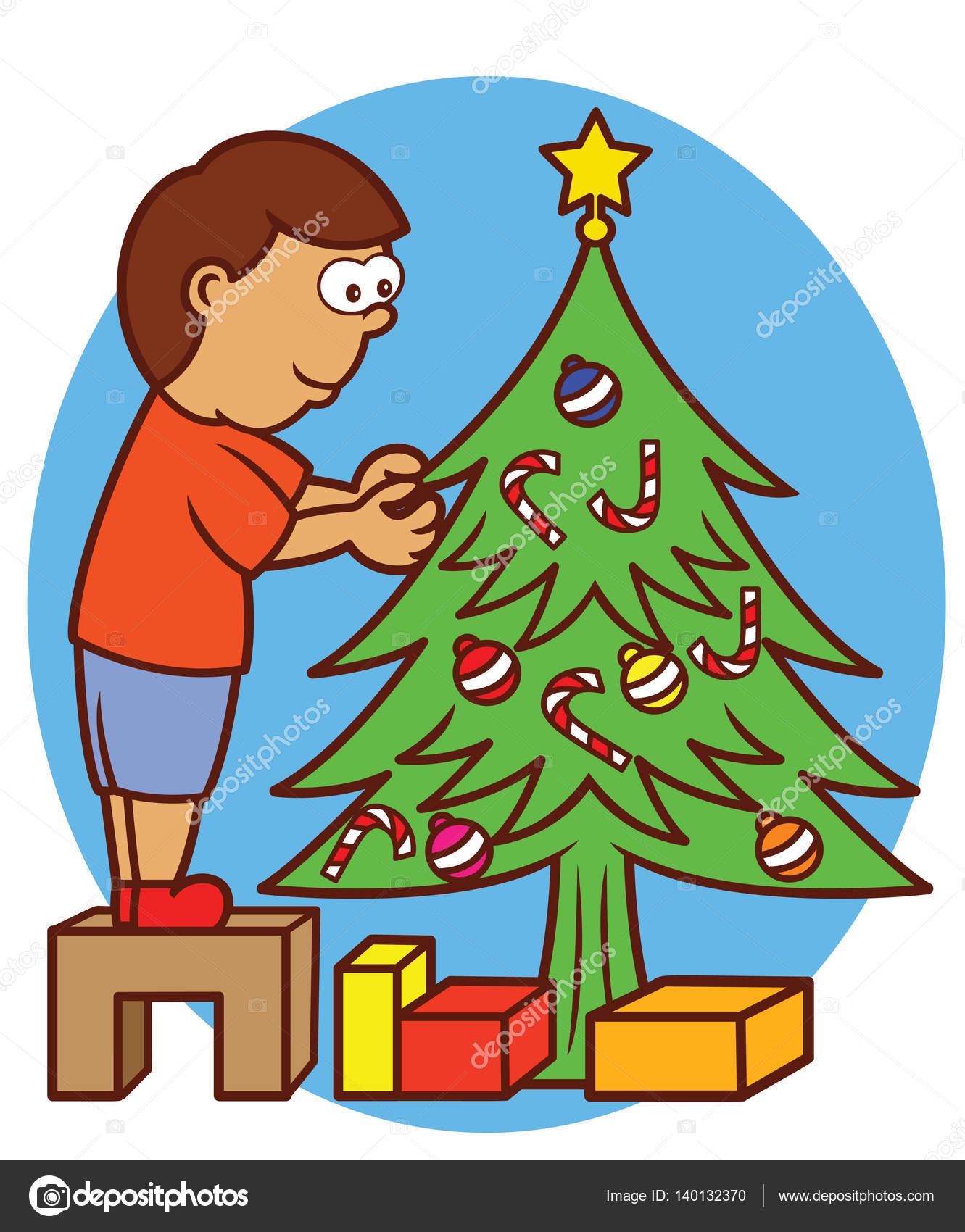 Ni o de pie sobre el peque o banco de madera decoraci n - Decoracion de navidad para ninos ...