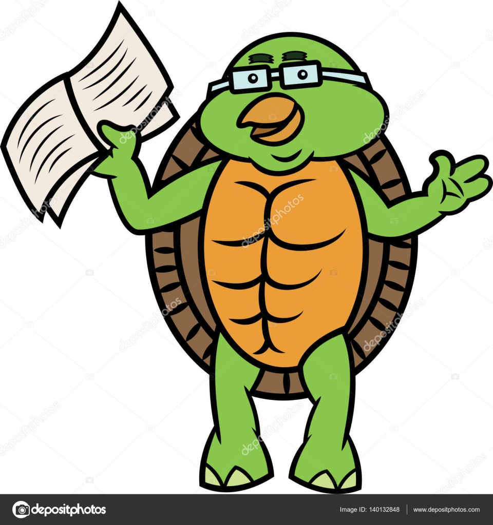 Turtle Cartoon With Glasses Turtle With Book And Glasses Cartoon
