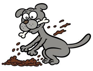 Dog Burying Bone Cartoon Illustration Isolated on White