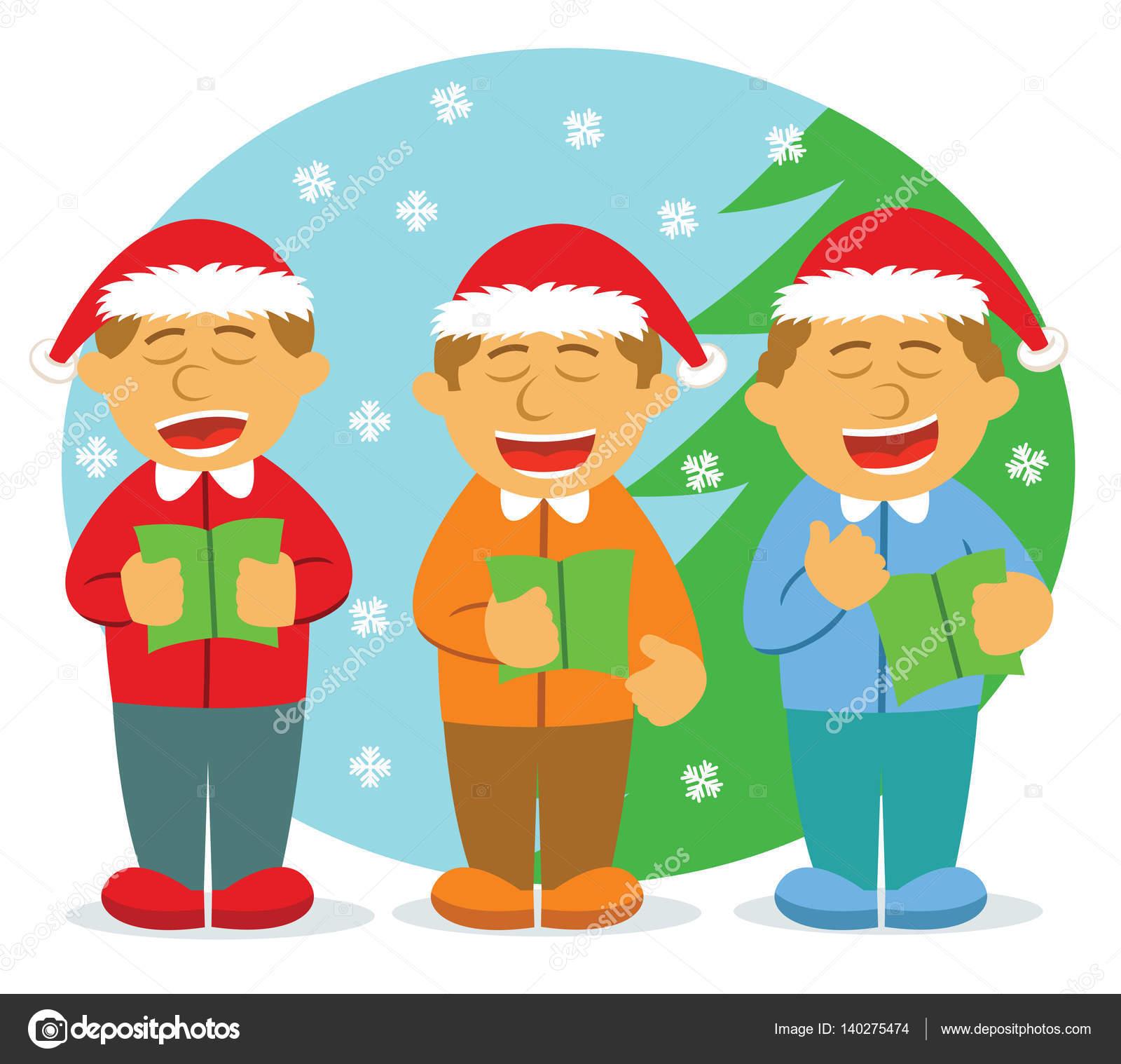4 人の男性合唱団クリスマス漫画イラストの歌 ストックベクター