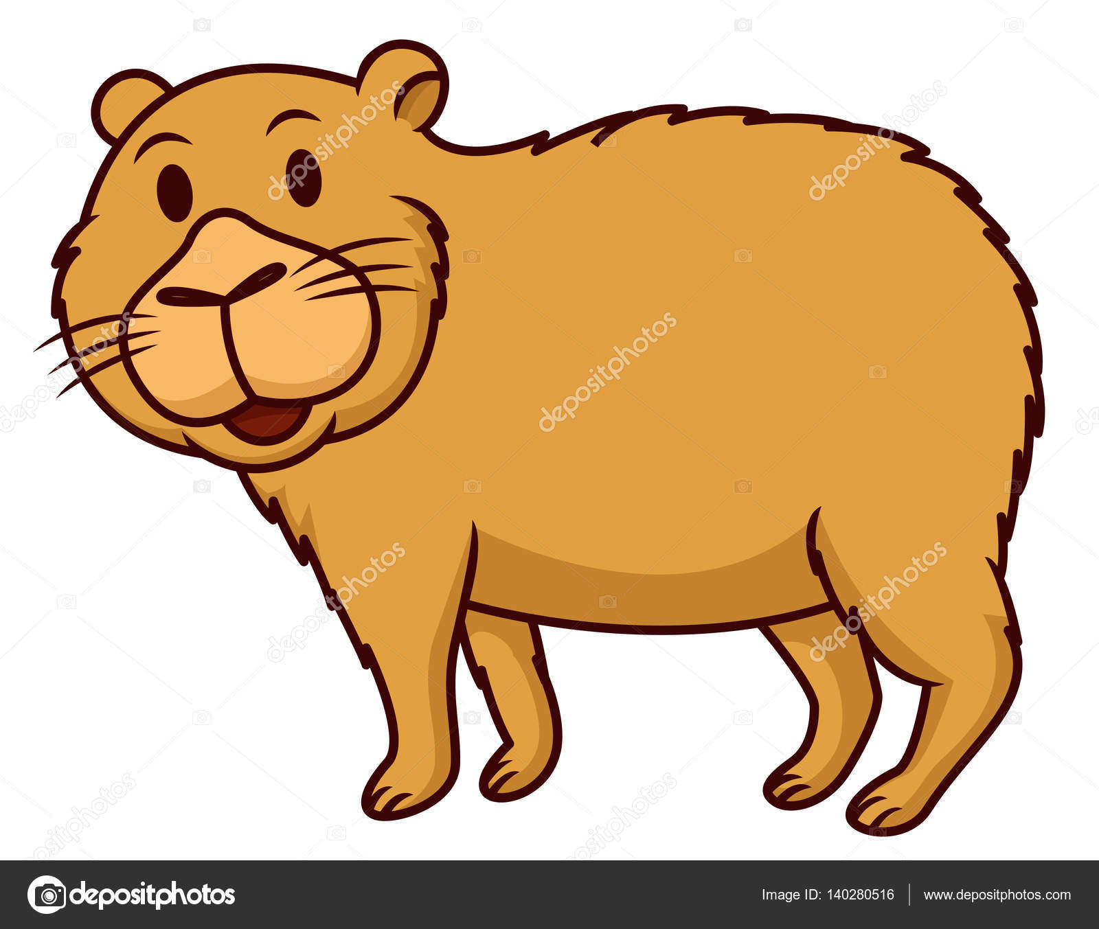 Capybara Smiling Cartoon Animal Character Isolated On White