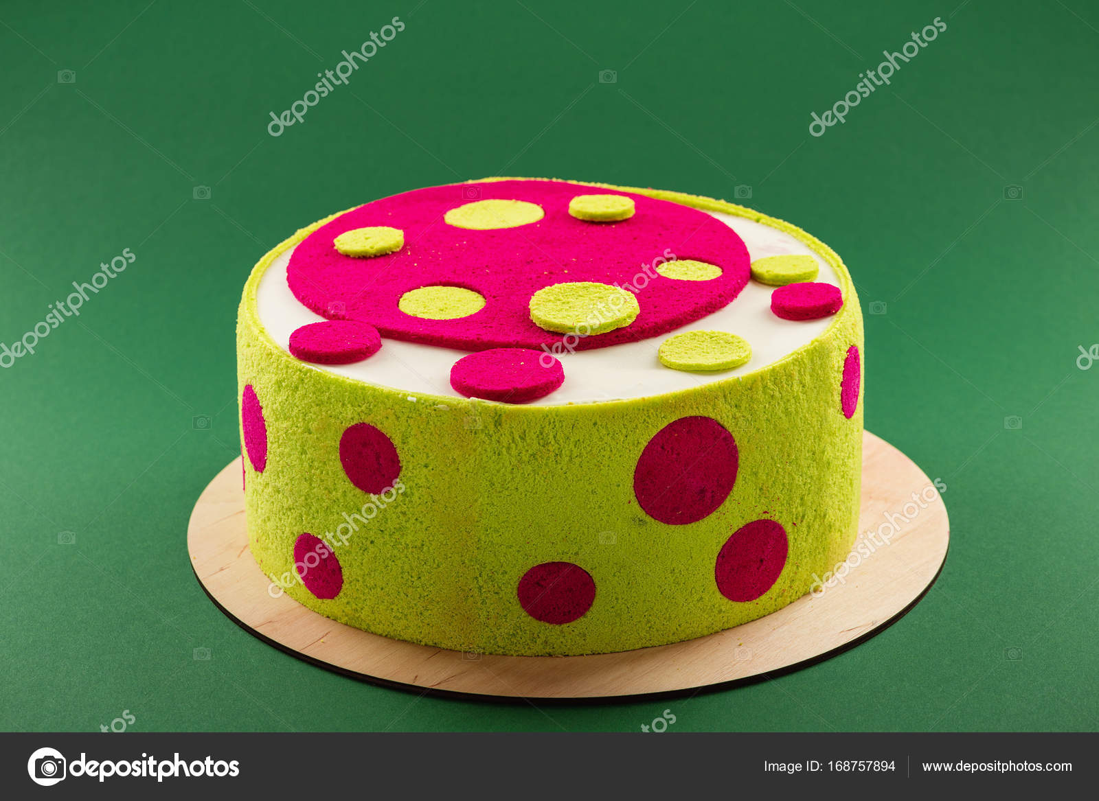 Bright Colorful Birthday Cake With Green And Pink Dots Stock Photo