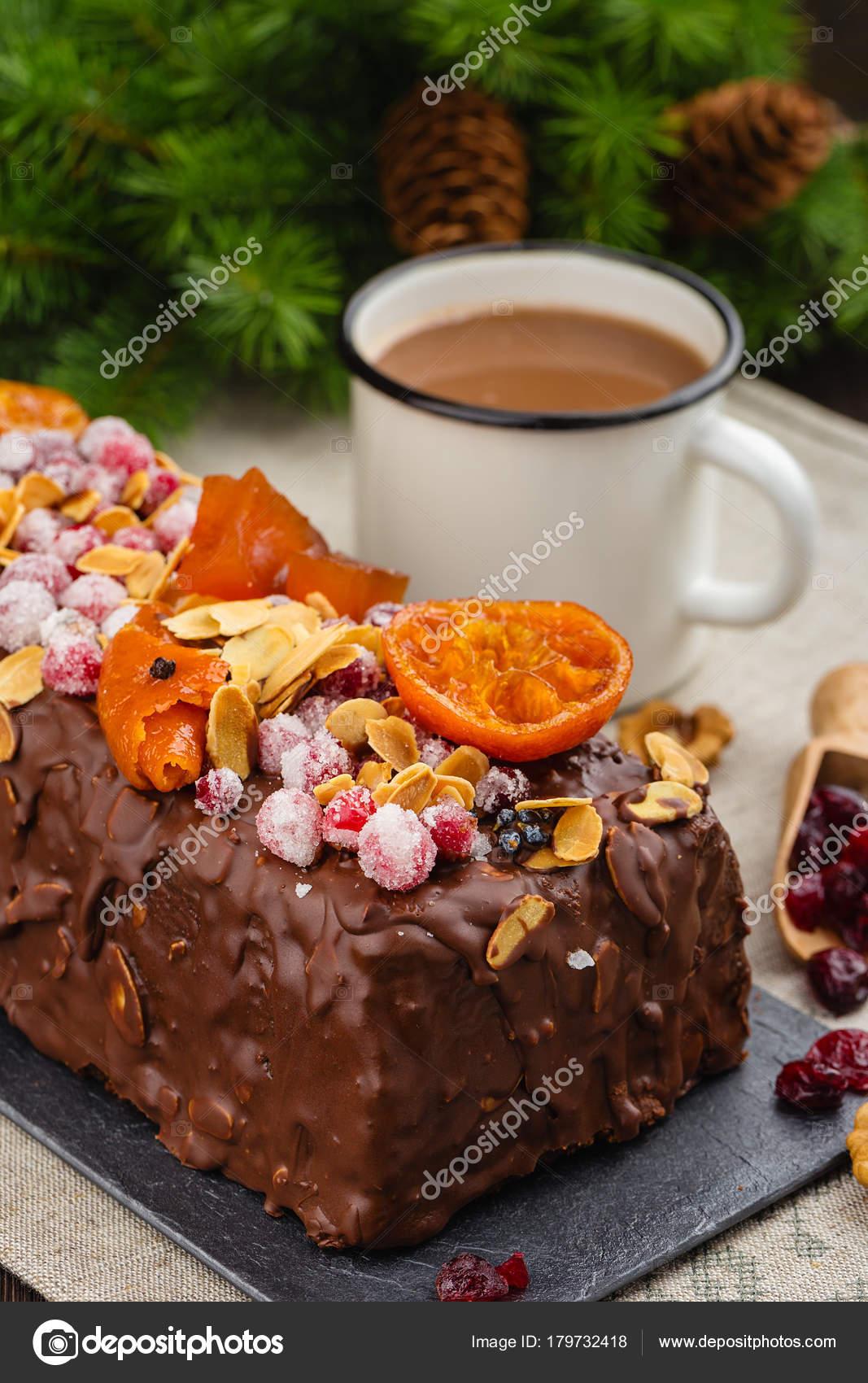 Torta di frutta di Natale tradizionale. Cucina inglese festiva ...