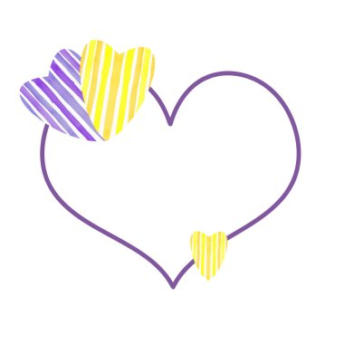 Minimalistic heart-shaped border frame with purple and yellow st