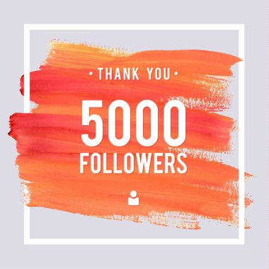 Vector thanks design template for network friends and followers. Thank you 5 K followers card. Image for Social Networks. Web user celebrates large number of subscribers or followers