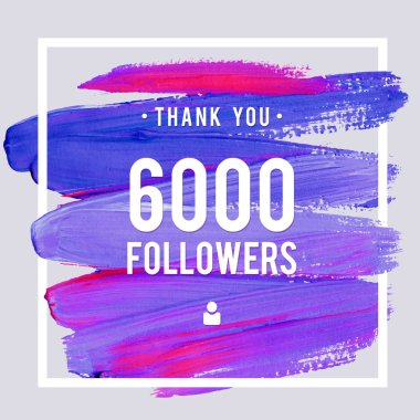 Vector thanks design template for network friends and followers. Thank you 6 K followers card. Image for Social Networks. Web user celebrates large number of subscribers or followers
