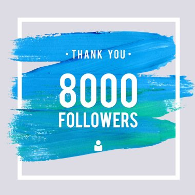 Vector thanks design template for network friends and followers. Thank you 8 K followers card. Image for Social Networks. Web user celebrates large number of subscribers or followers