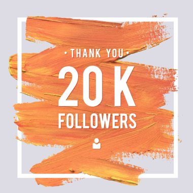 Vector thanks design template for network friends and followers. Thank you 20K followers card. Image for Social Networks. Web user celebrates large number of subscribers or followers