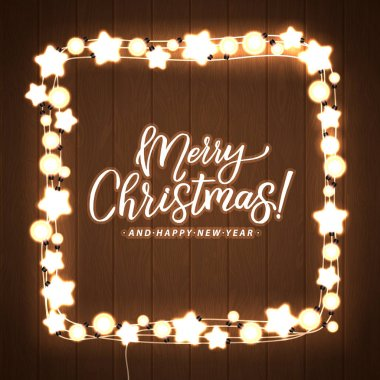 Merry Christmas and Happy New Year. Glowing  Lights Wreath for Xmas Holiday Greeting Card Design. Wooden Hand Drawn Background.
