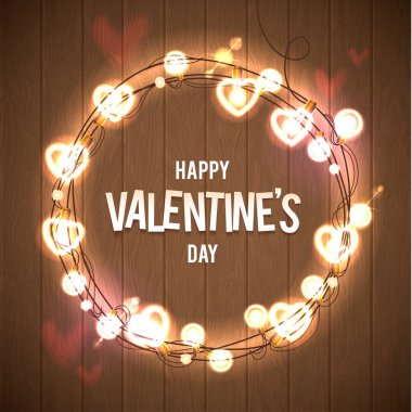 Happy Valentines Day Vector Wood Card. Pink Bokeh Background. Glowing Lights Wreath for Love Holiday Greeting Card Design. Wooden Hand Drawn Background. clip art vector