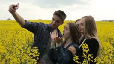 Teenager friends posing and taking selfies