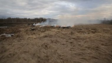 Aerial view of dry grass burning on the farmland