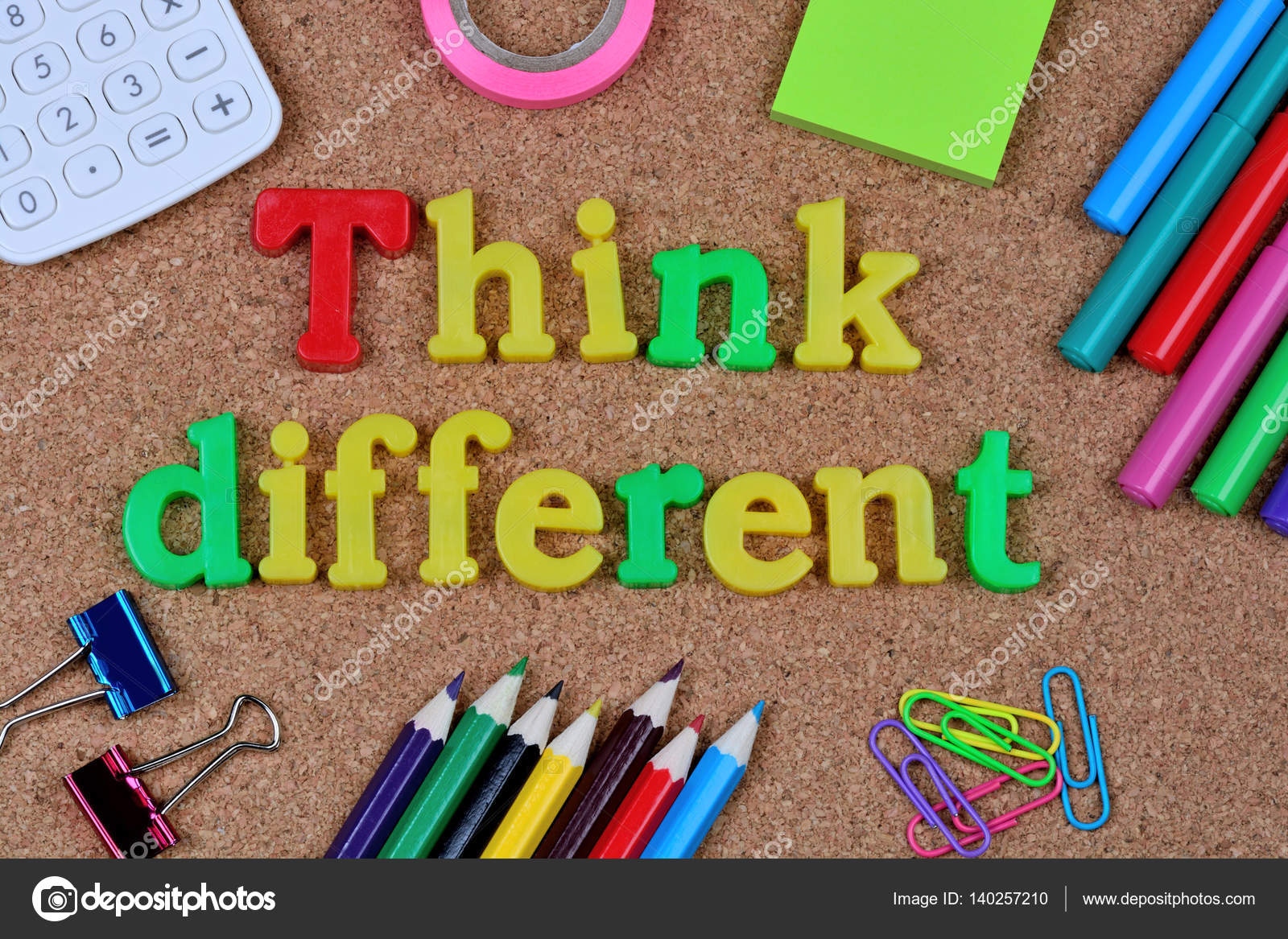 The Words Think Different Word On Cork Stock Photo C Deeaf 140257210
