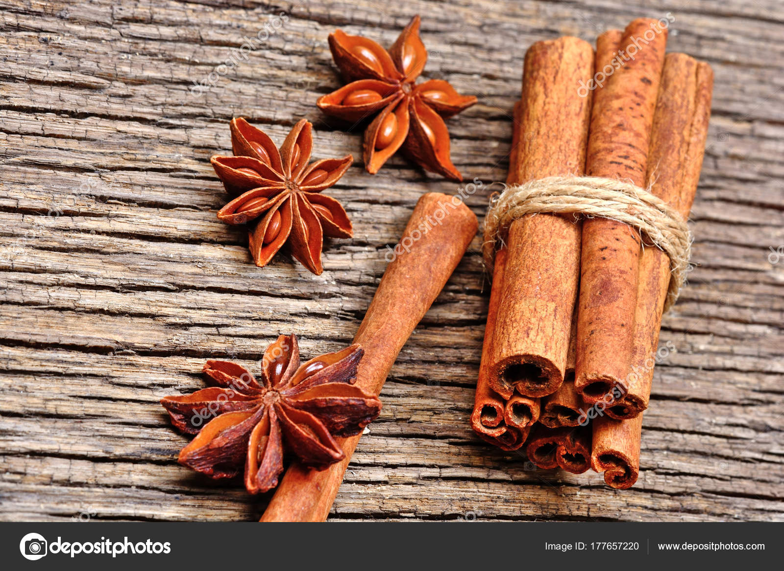 Anise Star With Cinnamon Sticks On Rustic Wooden Table