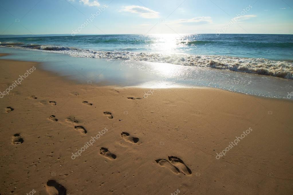 footprints on sand on beach