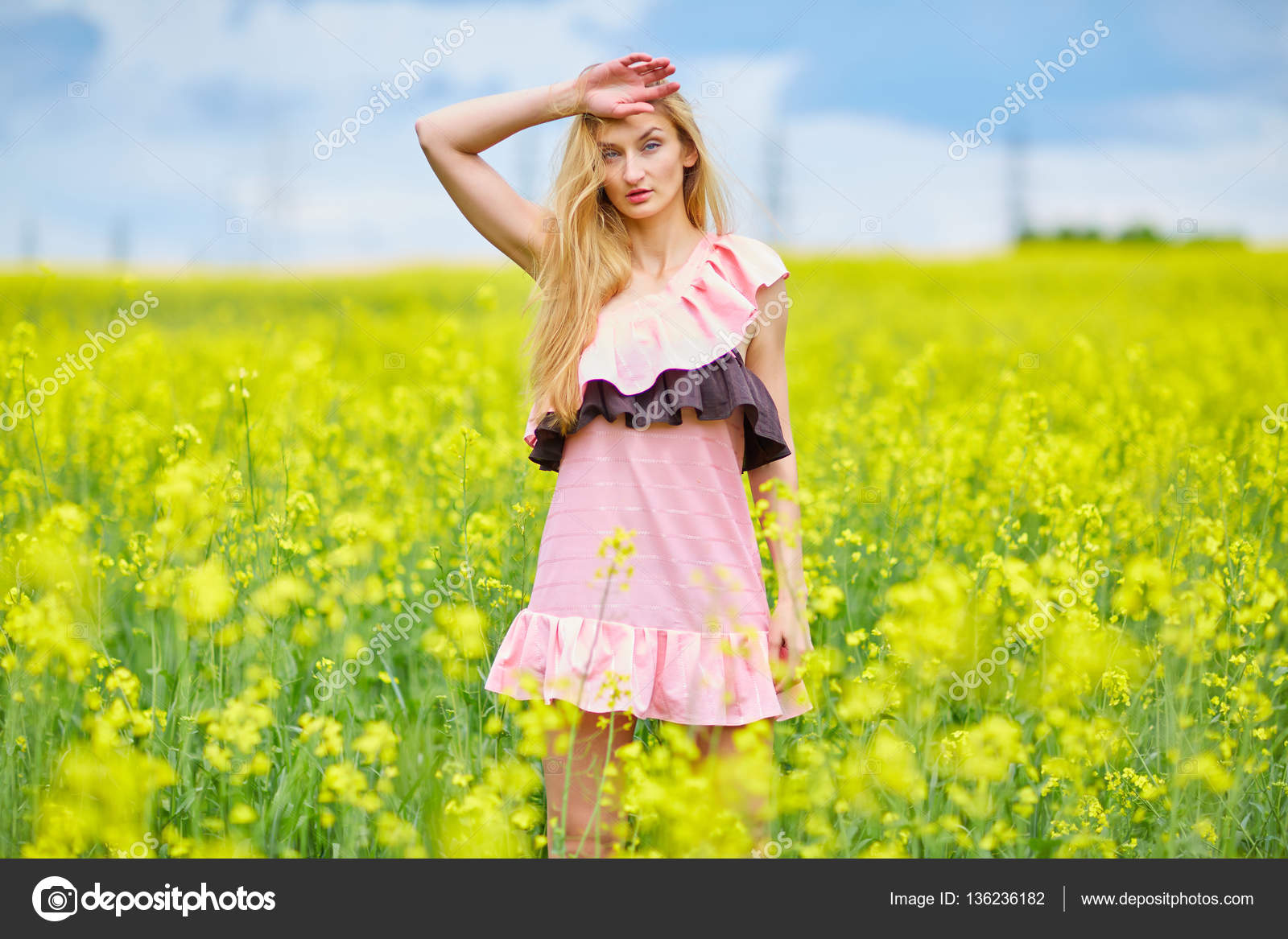 Sexy Girl On The Nature Rape Stock Photo