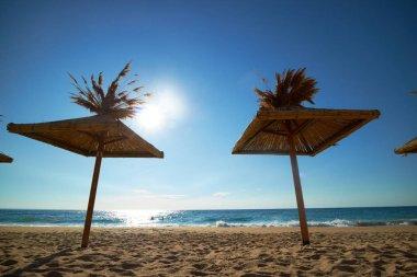 Black Sea beach, coastline with umbrellas stock vector