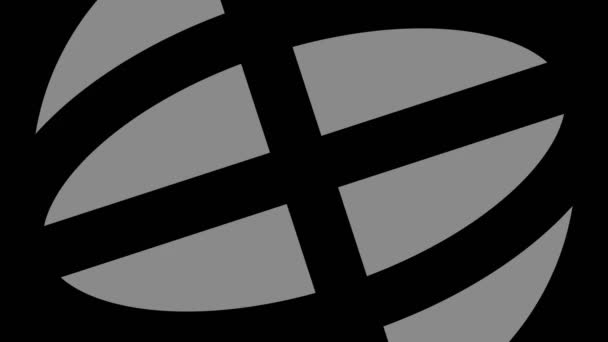 Grafikus tárgy fekete-fehér, sztroboszkópos és hipnotikus hatású, amely forog óramutató járásával megegyező irányban csökkenti a méretet teljes képernyőről eltűnnek a közepén, 16: 9 videó formátumban.