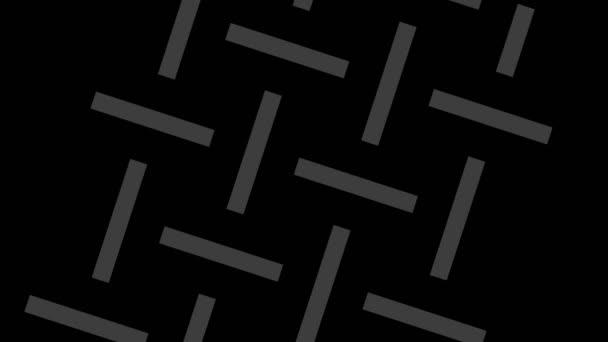 Grafikzeichnung in Schwarz-Weiß mit stroboskopischem und hypnotischem Effekt, während sie sich im Uhrzeigersinn dreht und vergrößert, im 16: 9-Videoformat