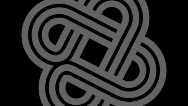 Grafikzeichnung 3D in schwarz-weiß mit stroboskopischem und hypnotischem Effekt, während es sich im Uhrzeigersinn dreht und an Größe gewinnt, im 16: 9-Videoformat