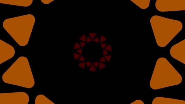 Grafikdesign, das sich in der Mitte dreht und die Größe vergrößert, um den gesamten Hintergrund zu bedecken und zu verschwinden, bestehend aus verschiedenen Farben, im 16: 9-Videoformat.