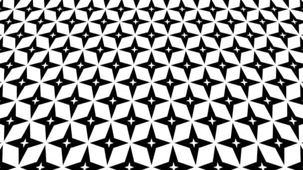 Grafický vzor v černé a bílé, který se naklání nahoru a pohybuje, složený z geometrických tvarů ve formátu 16: 9