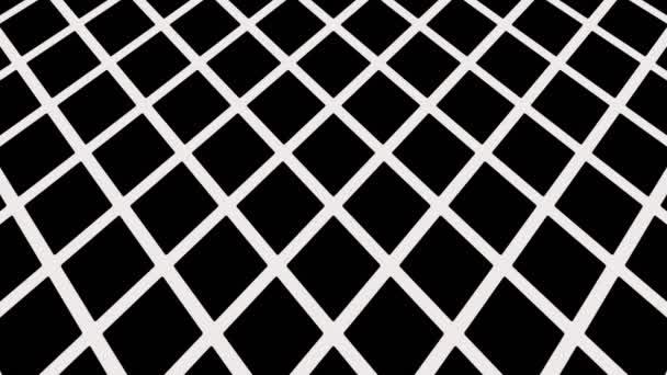 Grafikmuster in schwarz-weiß, das sich neigt und bewegt, bestehend aus geometrischen Formen im Format 16: 9