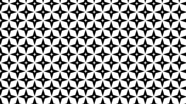 Grafický motiv v černobílé barvě, který se pohybuje v pozadí a zvětšuje velikost, složený z kreseb a barevných tvarů.