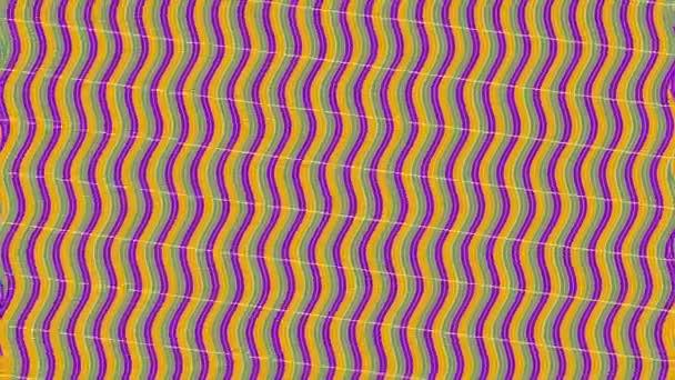 Grafický 2d video vzor s vlnovým efektem, který se otáčí doprava a pak se vrací doleva, složený z designů a tvarů s mnohobarevnými texturami, ve formátu 4k 16: 9.