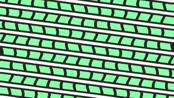 Grafikus 2d videó minta hullámhatás, amely forog a jobb oldalon, majd visszafordul a bal oldalon, álló minták és formák sokszínű textúrák, 4k 16: 9 formátumban.