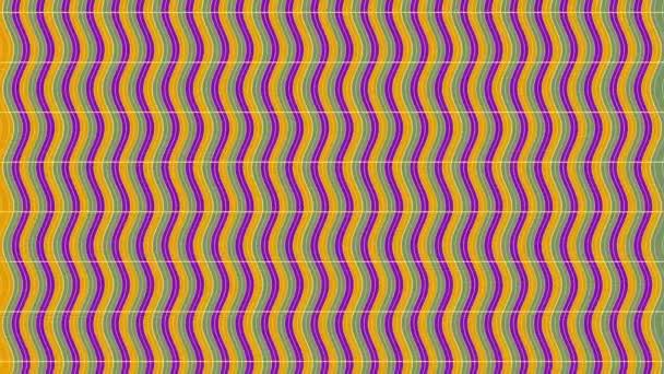 2d grafický obrazec s efektem vertikální vlny, který se pohybuje dolů, složený z designů a tvarů s mnohobarevnými texturami, ve formátu 4k 16: 9.