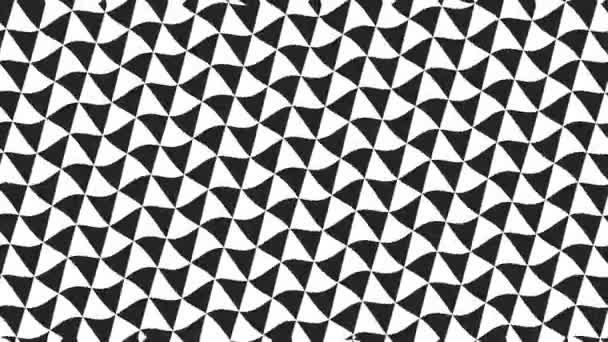 Grafický 2d video vzor s vlnovým efektem, který se otáčí vlevo, složený z designů a tvarů s mnohobarevnými texturami, ve formátu 16: 9.