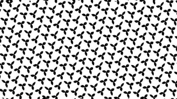 2d grafisches Schwarz-Weiß-Videomaterial, mit horizontalem Welleneffekt, der sich nach links bewegt, bestehend aus Mustern und Formen mit mehrfarbigen Texturen, im 4k 16: 9-Format.