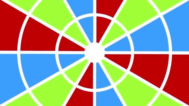 Kruhový objekt typu ventilátor různých barev, který se otáčí ve směru hodinových ručiček, s kotevním bodem umístěným ve středu a pokrývá celé pozadí.