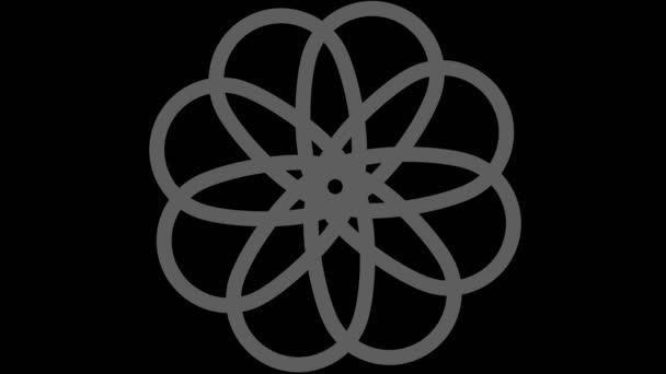 Grafikobjekt in Schwarz-Weiß mit stroboskopischem und hypnotischem Effekt, das zunächst vergrößert und dann verkleinert wird, auf minimalem schwarzem Hintergrund im 16: 9-Videoformat