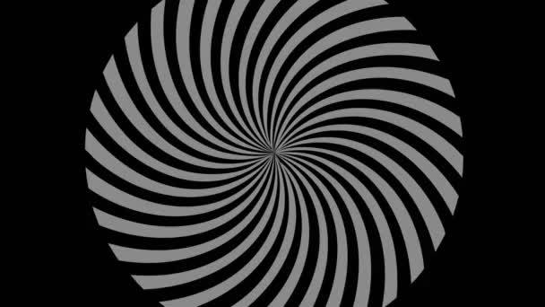 Grafický objekt v černobílé barvě se stroboskopickým a hypnotickým efektem, zvětšující se a poté zmenšující, na minimálním černém pozadí ve formátu 16: 9 video