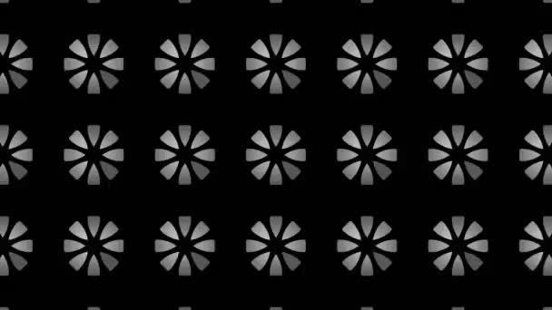 Grafikmuster in Schwarz-Weiß mit stroboskopischem und hypnotischem Effekt, der sich vergrößert und dann verkleinert, auf minimalem schwarzem Hintergrund im 16: 9-Videoformat