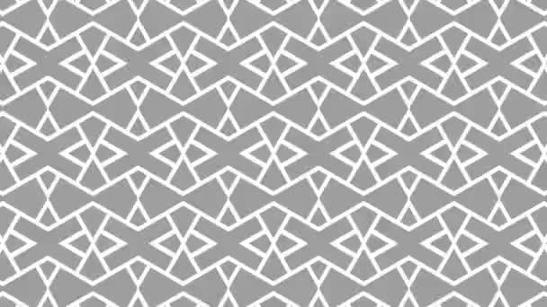 Graphic pattern in black and white with stroboscopic and hypnotic effect, increasing in size and then reducing it, on a minimal black background in 16: 9 video format