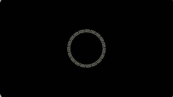 Grafický design, který se otáčí ve středu a zvětšuje velikost, pokrýt celé pozadí a zmizí, složený z různých barev, v 16: 9 video formátu.
