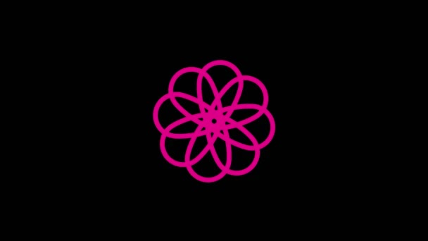 Colored graphic object that rotates clockwise in the center, varying in size, on a background with a hypnotic, psychedelic and stroboscopic effect, in 16: 9 video format.
