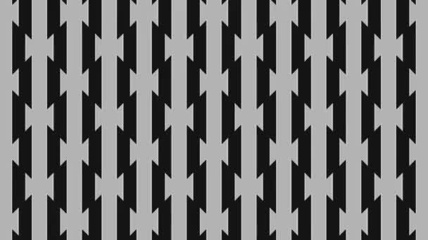 Graphische Animation in Schwarz-Weiß auf minimalem Hintergrund, der in Größe, Winkel und Intensität variiert, auf einem Hintergrund mit hypnotischem, psychedelischem und stroboskopischem Effekt, im 16: 9-Videoformat.
