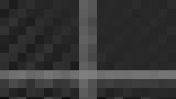 abstrakte Animation in Schwarz-Weiß auf minimalem Hintergrund mit Mosaikeffekt, der bei abstrakter Textur in Größe, Winkel und Intensität variiert, im 16: 9-Videoformat