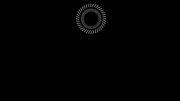 Grafikobjekt in schwarz-weiß mit stroboskopischem und hypnotischem Effekt, das sich im Uhrzeigersinn von der linken oberen Ecke entlang des gesamten Umfangs des Hintergrundes dreht, im 16: 9-Videoformat