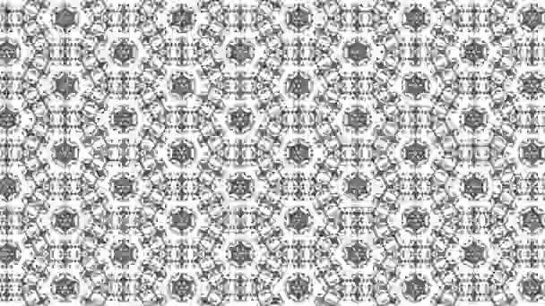 Grafický vzor v černé a bílé se stroboskopickým a hypnotickým efektem, při zvětšení a následném zmenšení, ve formátu 16: 9 video